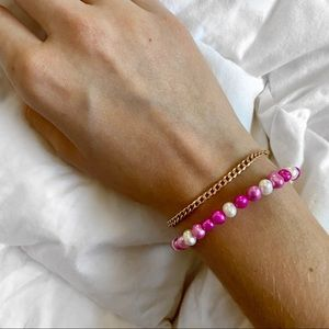 Pink and white stackable bracelet